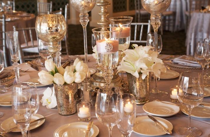 elegant ivory wedding flowers tulips lillies mercury glass 1