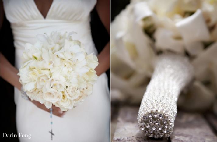 white wedding bouquet bling lauberge del mar 3