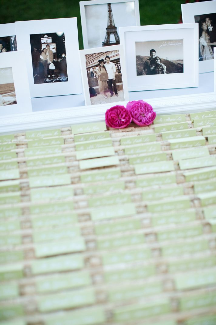 elegant wedding escort card display outdoor wedding in California