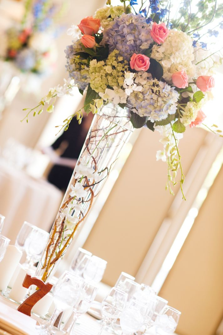 elegant real wedding with simple DIY details topiary centerpiece