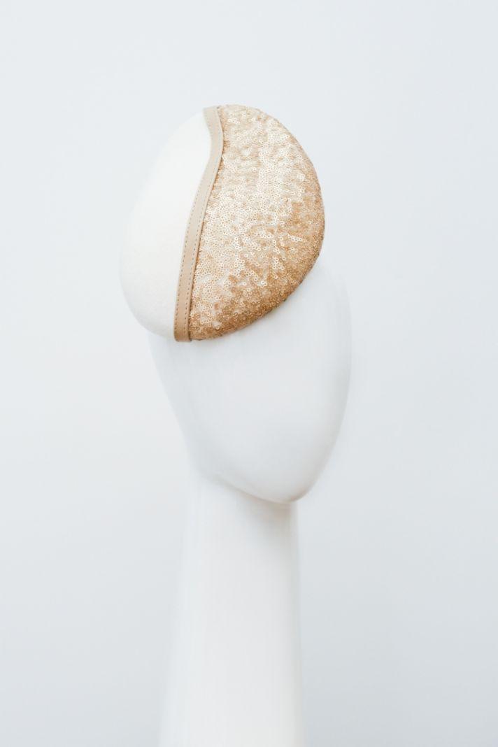 bridal veils hair accessories by Suzy Orourke gold sequin teardrop hat
