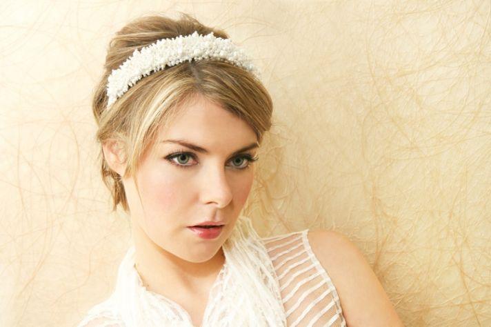 pearlized bridal headband