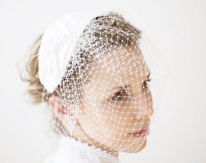 mini wedding hat crochet with birdcage veil blusher