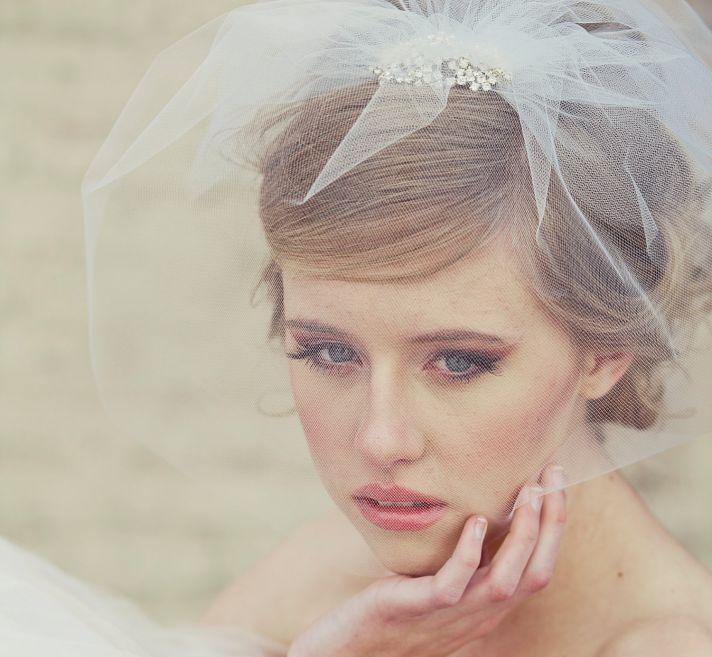 romantic bridal veil birdcage blusher tulle