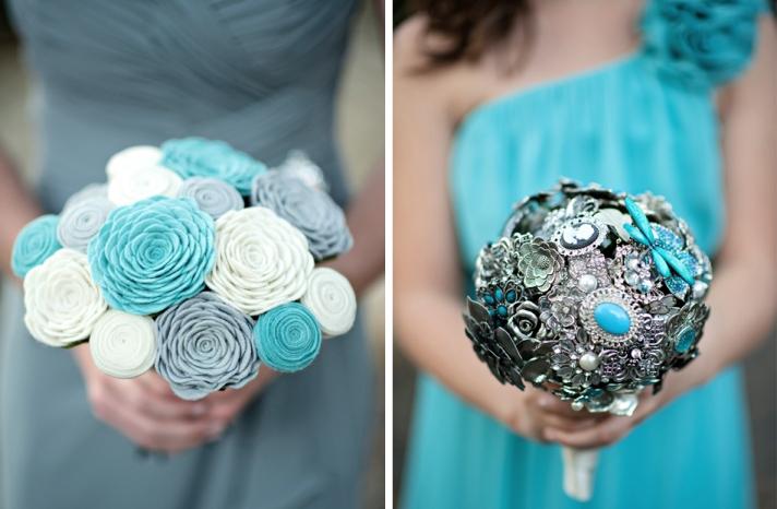 non fresh wedding flowers bridesmaid bouquets