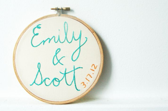 wedding embroidery turquoise orange with wedding date