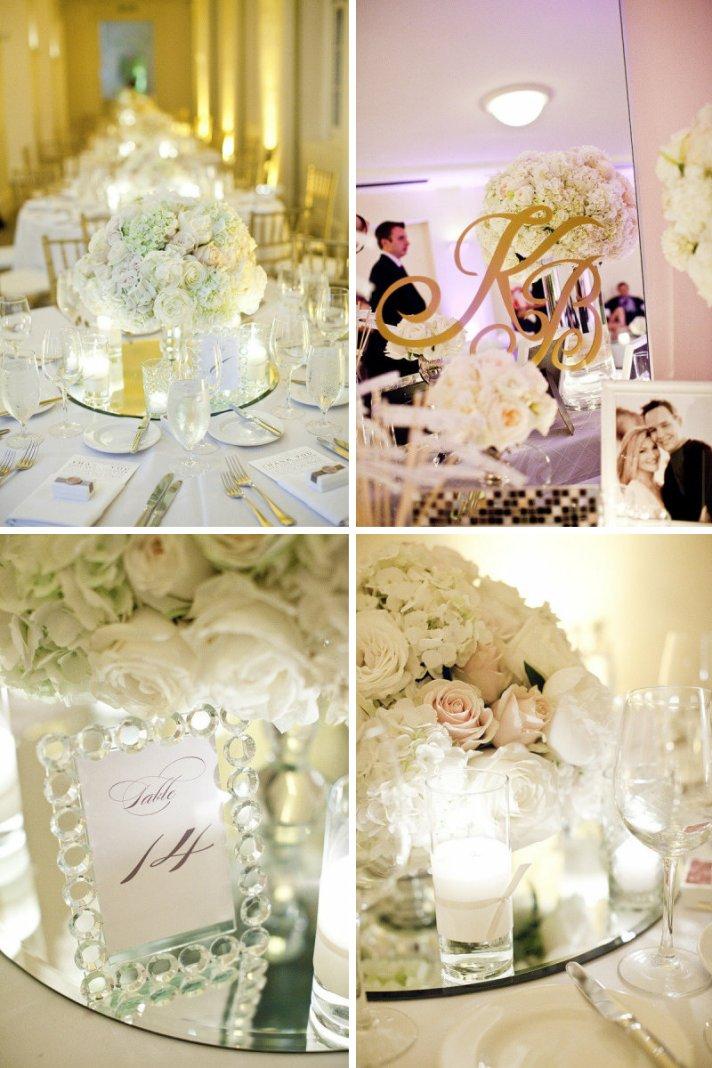 mirrored wedding reception decor elegant venue
