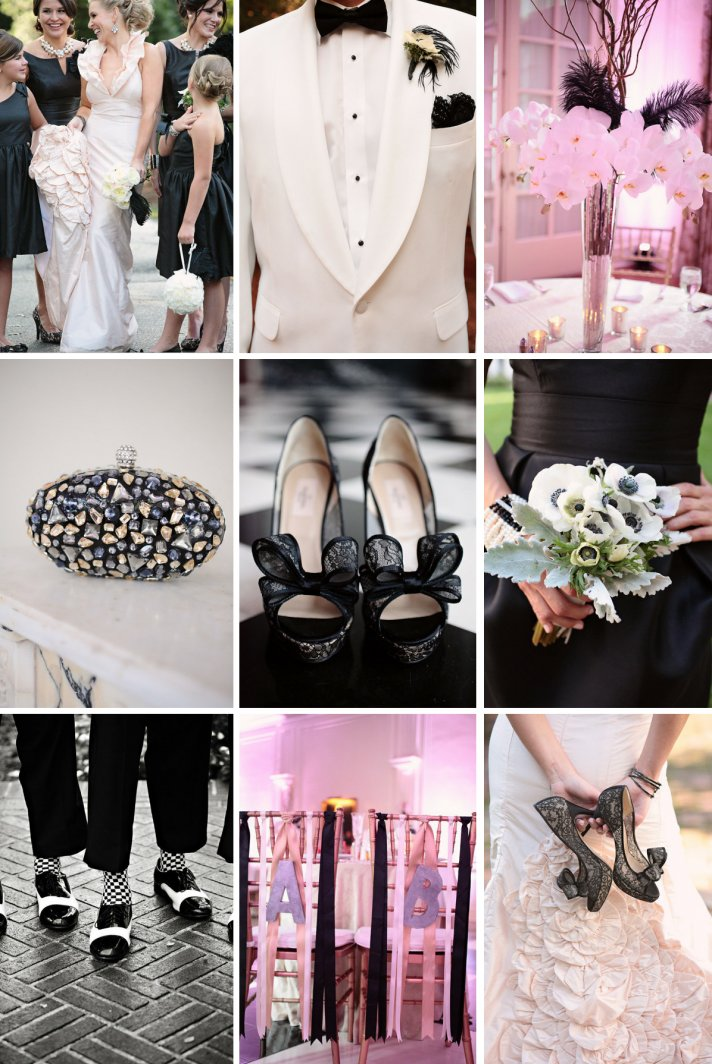 black and white wedding with pops of blush pink 2