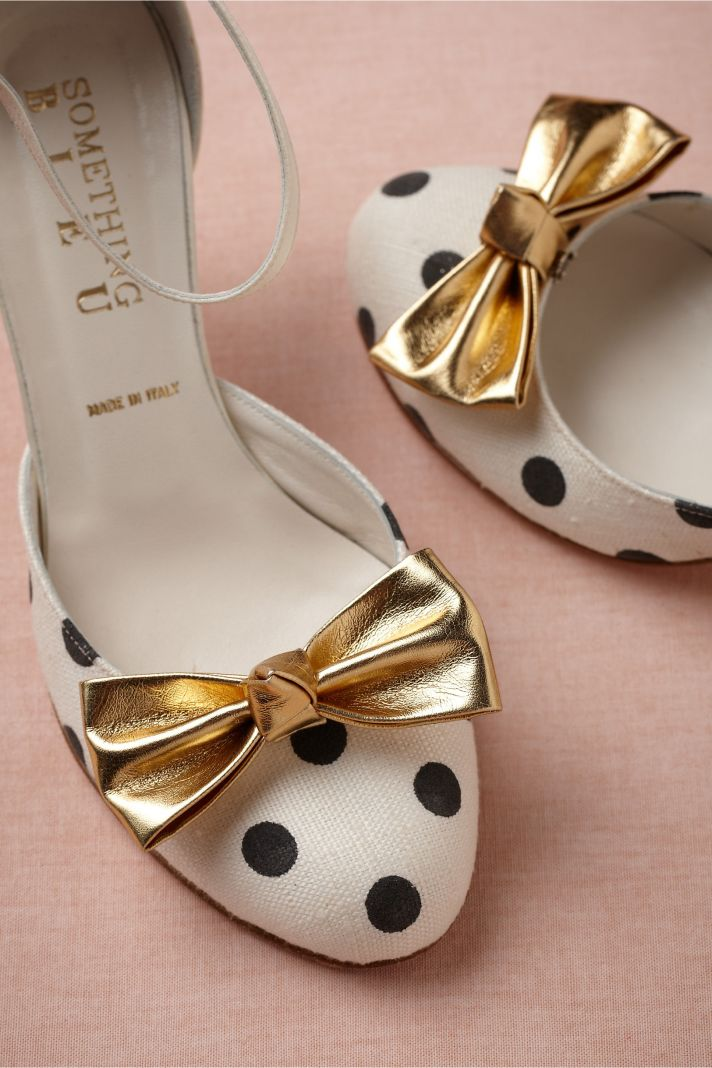 BHLDN bridal accessories for vintage weddings polka dot shoe