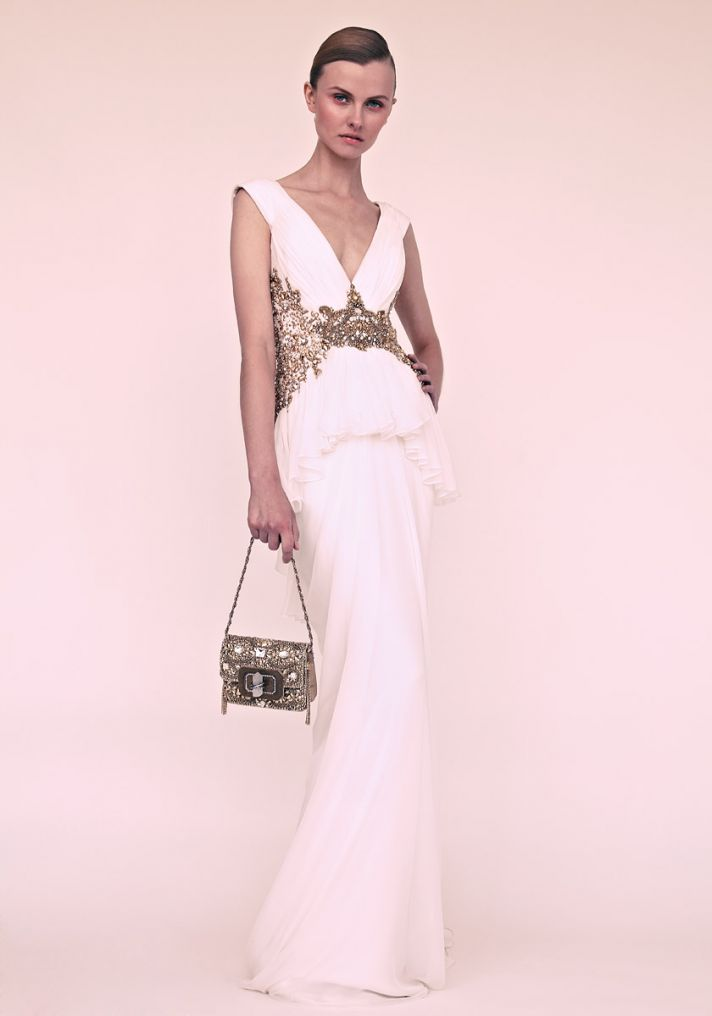 Gorgeous gowns for the glamourous bride onewed for Wedding dresses with gold beading