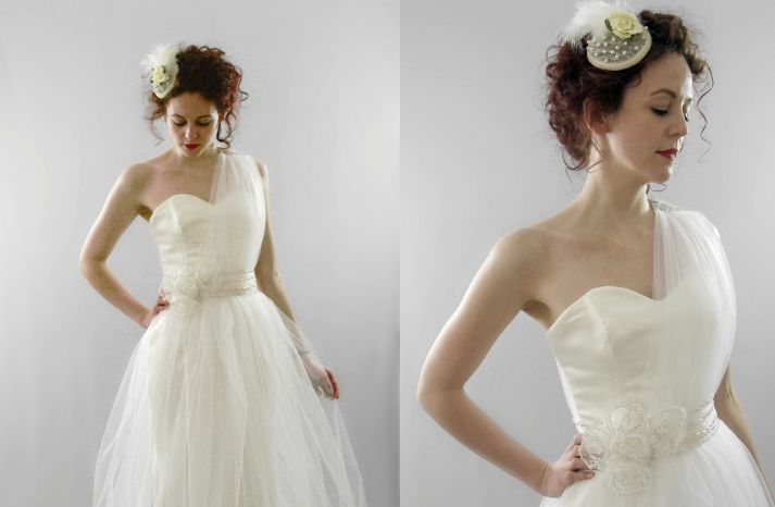 classic wedding dress with one sheer shoulder