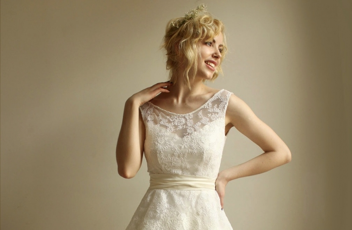 illusion neckline wedding dress vintage inspired