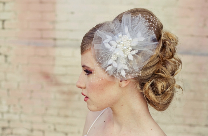 romantic bridal veil wedding hair accessories for vintage brides