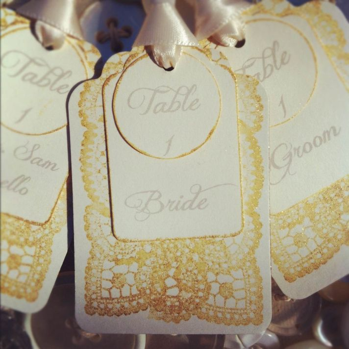 wedding escort cards elegant Etsy stationery gold lace vintage