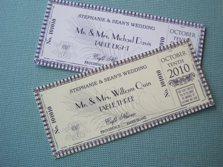 handmade wedding escort cards for vintage weddings tickets