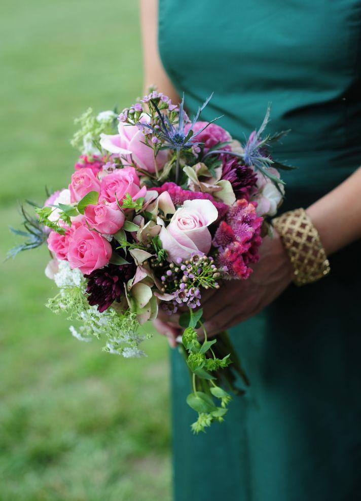 elegant southern wedding bridesmaid romantic bouquet