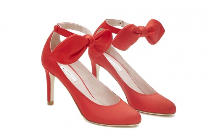 carven wedding shoes red with bows