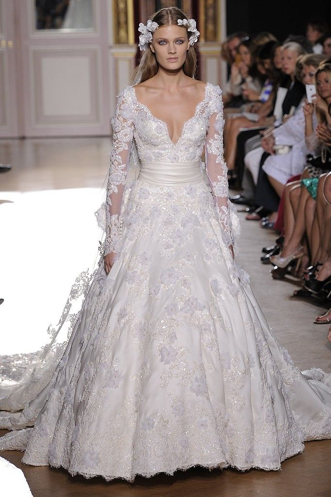 runway to white aisle wedding dress inspiration fall 2012 zuhair murad embellished lace with sleeves