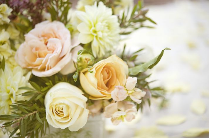 whimsical garden wedding romantic wedding flowers peach ivory roses