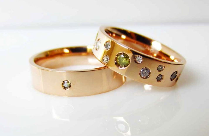 unique engagement rings wedding bands from Etsy gold with floating diamonds gems