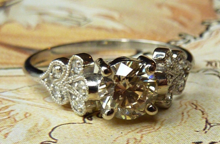 unique engagement rings wedding bands on etsy vintage petal