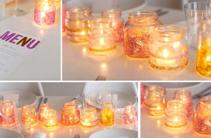 summer wedding DIY ideas sparkly glitter candles votives