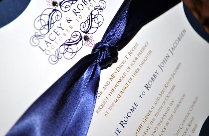 wedding color inspiration navy blue ceremony reception finds elegant invitation