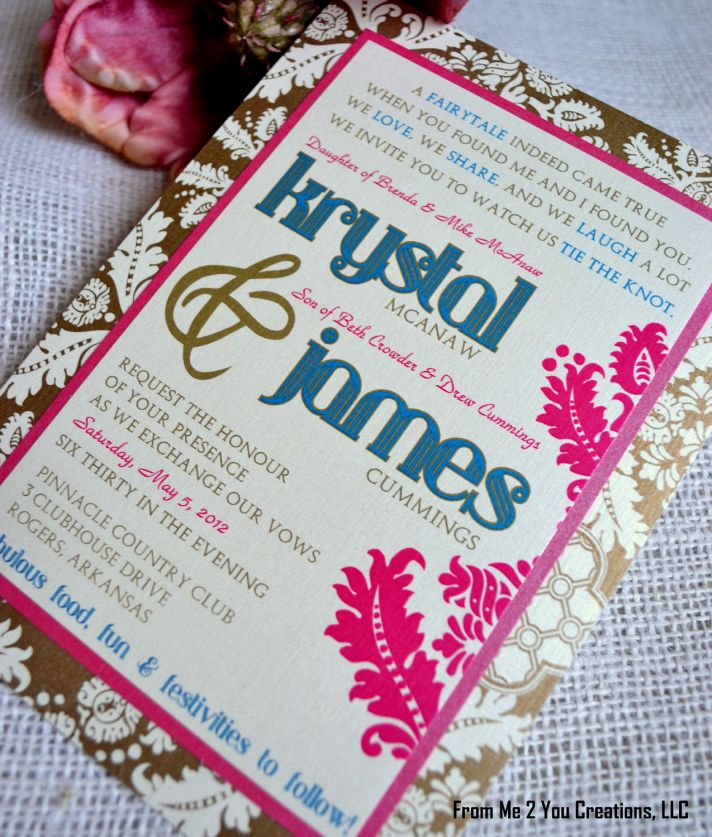 fuchsia gold blue wedding invitations unique wedding stationery