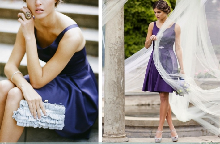 stylish bridesmaids dresses from Ruche affordable bridal party attire purple