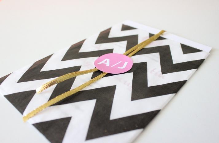 black white wedding invitatation chevron print pink gold pops