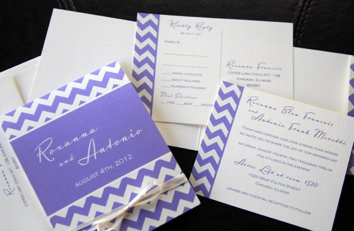 chevron wedding inspiration wedding decor details for the reception purple white invitations