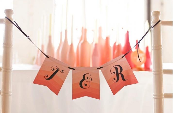 chevron ombre wedding sign coral peach