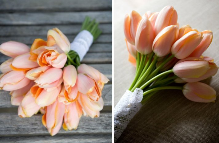 gorgeous wedding flowers monochromatic bridal bouquets peach tulips