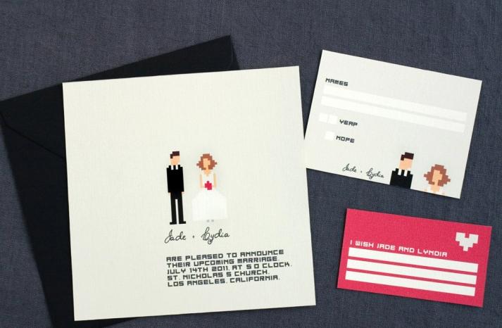 pixel wedding invitation black gray pink