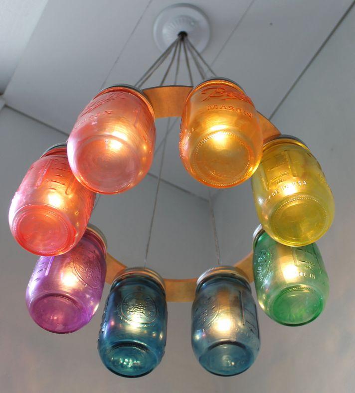 rainbow wedding inspiration mason jar chandelier