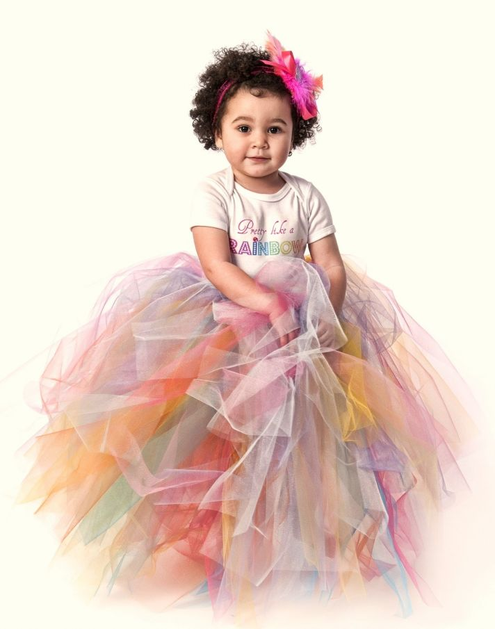 rainbow wedding inspiration adorable flower girl dress