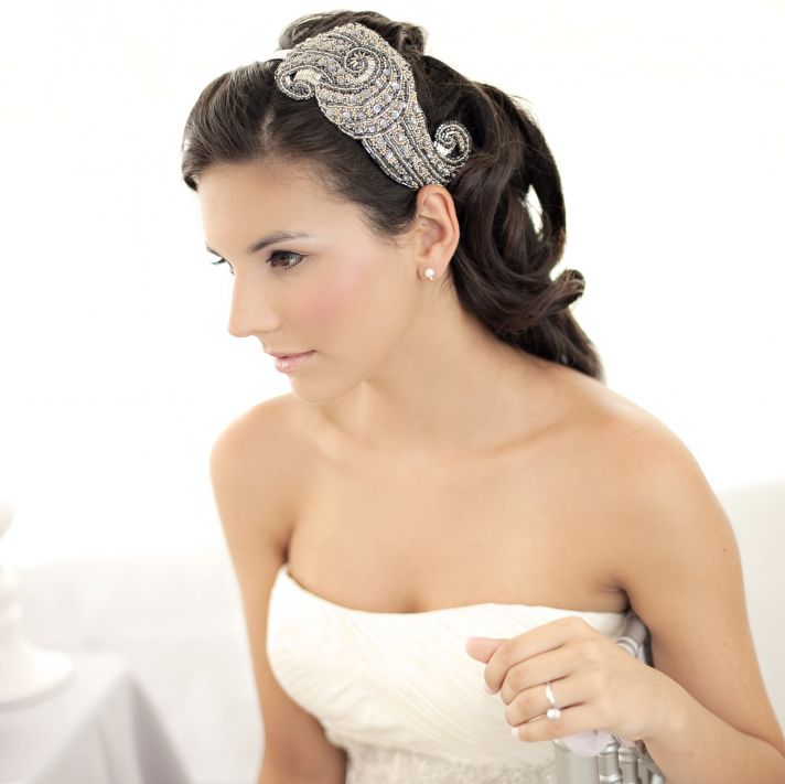 10 gorgeous bridal veils wedding hair accessories Bethany Lorelle beaded headpiece 2