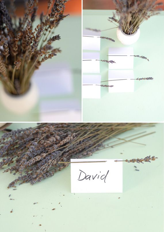 amazing wedding DIY projects escort cards for wedding reception lavendar herbs