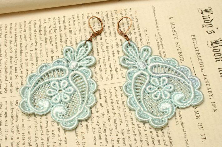 something blue wedding inspiration bridal style spotting lace earrings