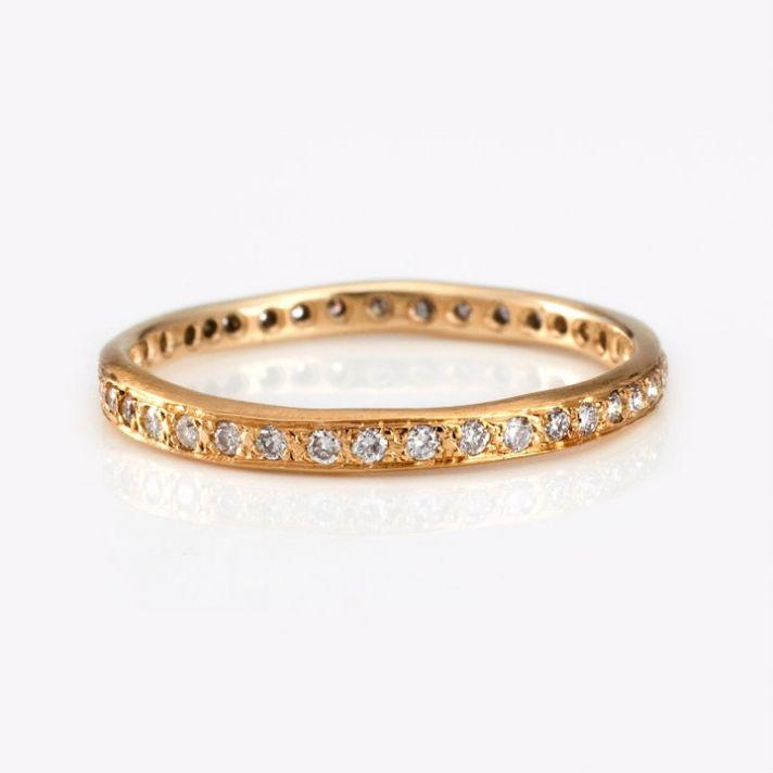 unique engagement rings and wedding bands by Satomi Kawakita yellow gold band