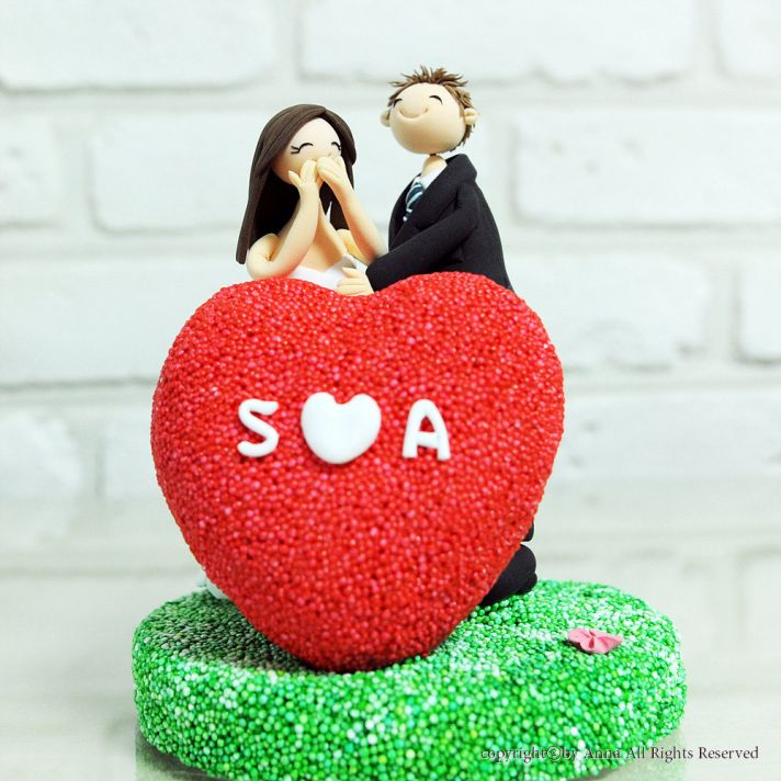 adorable wedding cake topper heart with monogram