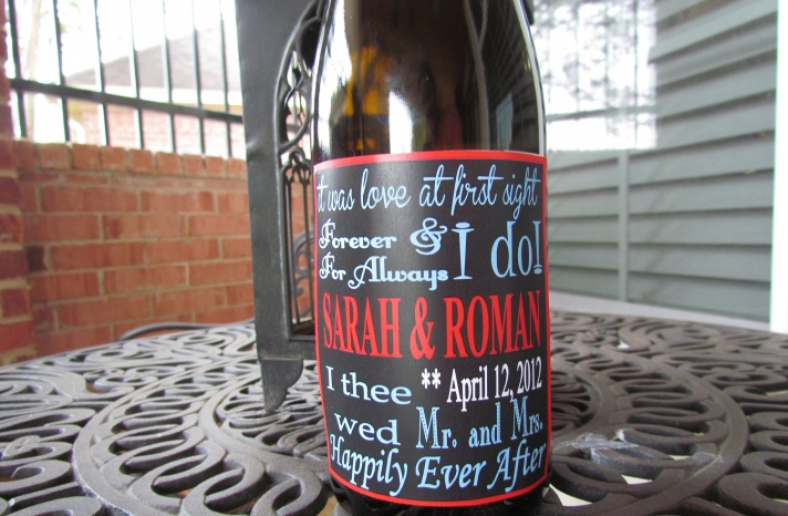 personalized wedding ideas custom wine labels for the reception red black white