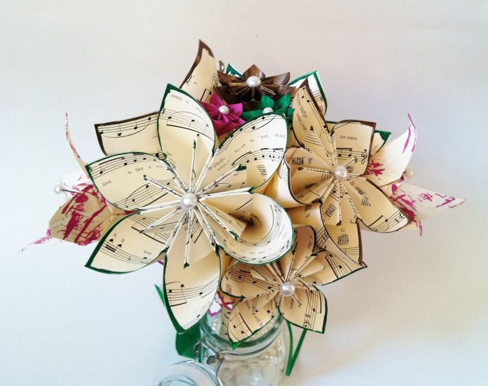 music themed wedding accessories ceremony reception decor paper flower centerpiece