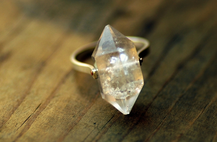 unique diamond engagement rings wedding jewelry with rough Herkimer stones 1