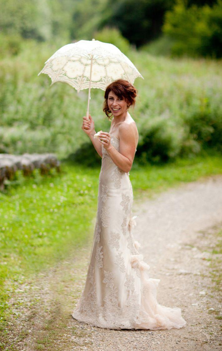 unique wedding dresses non white bridal gown creamy beige lace