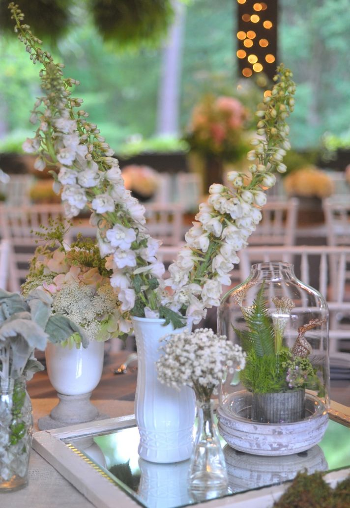 elegant wedding in North Carolina estate wedding venue reception flowers 1