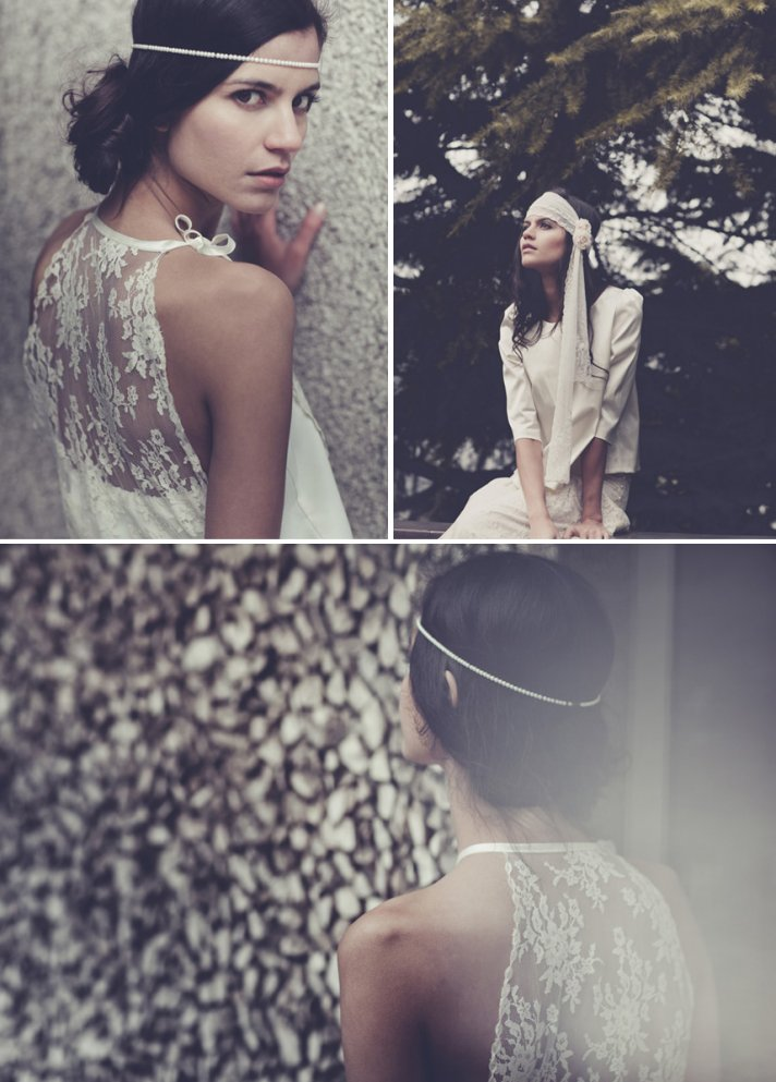 bohemian bridal style wedding dresses and accessories Laure de Sangaza