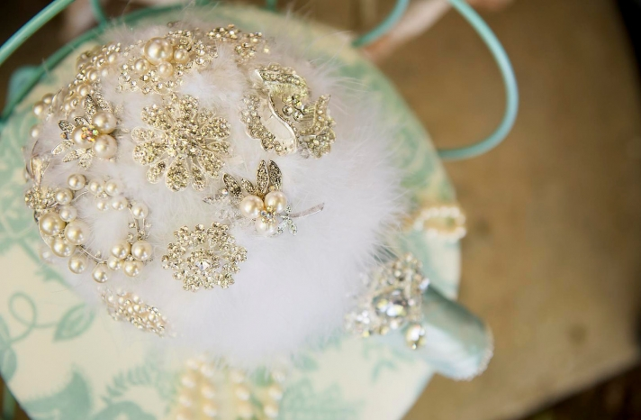 pearl wedding accessories handmade Etsy wedding finds feather bouquet