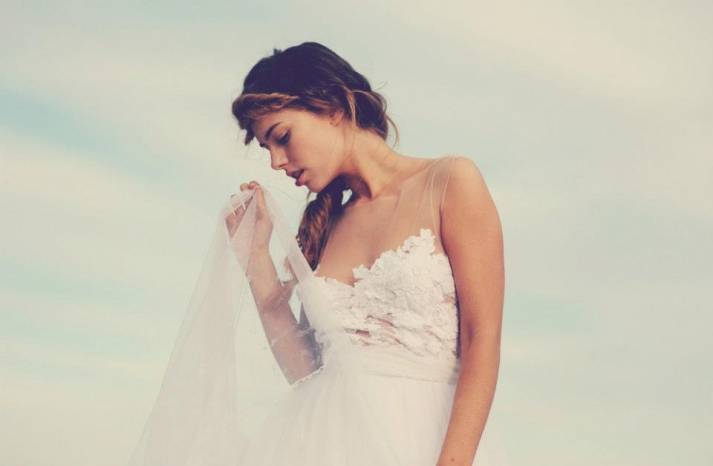 bohemian bride at a beach wedding bridal gown beauty inspiration 12