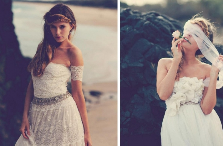 bohemian bride in lace wedding dress beach inspiration 1